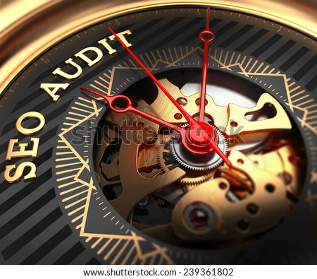 SEO Audit on Black-Golden Watch Face with Closeup View of Watch Mechanism.  - stock photo