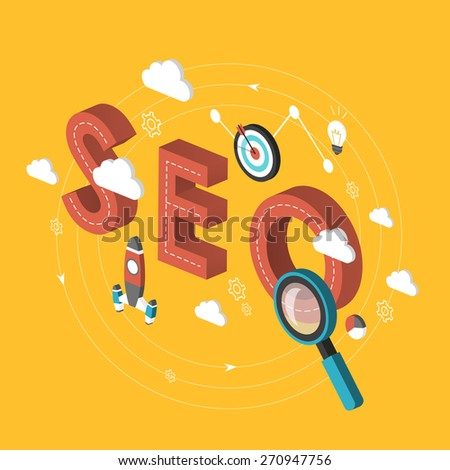 SEO concept 3d isometric infographic over yellow background - stock photo