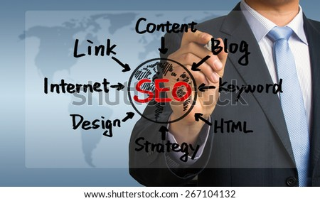 seo concept flowchart hand drawing by businessman - stock photo