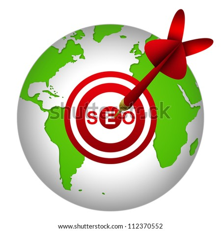 SEO Concept Present By Dart Hitting A SEO( Search Engine Optimization ) Target on Globe Isolated On White Background - stock photo