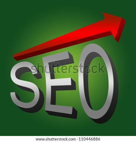 SEO Concept, Present With 3D Silver SEO and Red Glossy Arrow With Green Glossy Style Background - stock photo