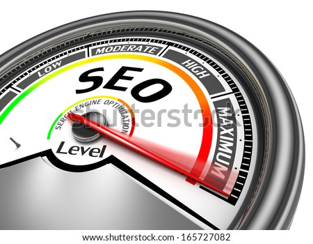 seo conceptual meter indicate maximum, isolated on white background - stock photo