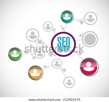 seo content network communication illustration design over a white background - stock photo