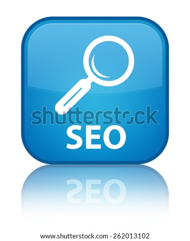 Seo cyan blue square button - stock photo