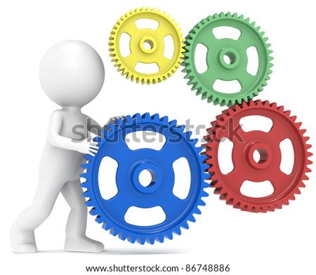 SEO. 3D little human character and Gears. Metal - stock photo