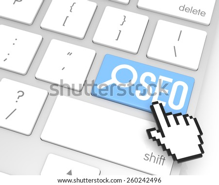 SEO enter key with hand cursor. 3D rendering