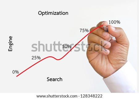 SEO flow chart on a whiteboard - stock photo