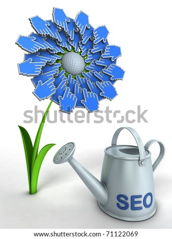 SEO flower. Watering can with title SEO and flower with hand cursors. - stock photo