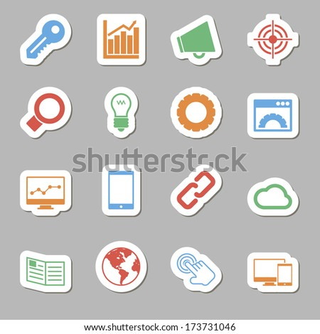 Seo Icons as Labels - stock photo