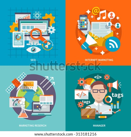 Seo internet marketing design concept with research manager flat icons set isolated  illustration