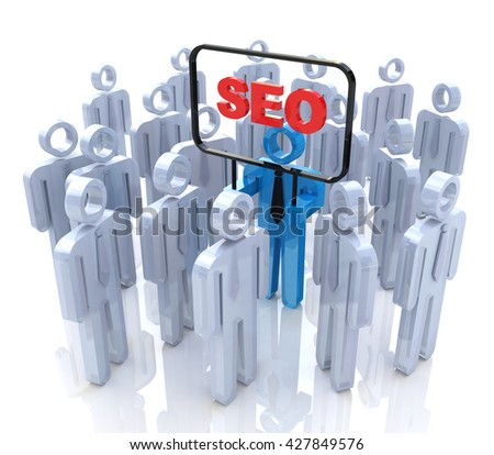 SEO man in the crowd of people in the design of the information related to Internet technologies. 3d illustration - stock photo
