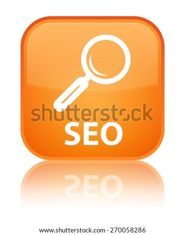 Seo orange square button - stock photo