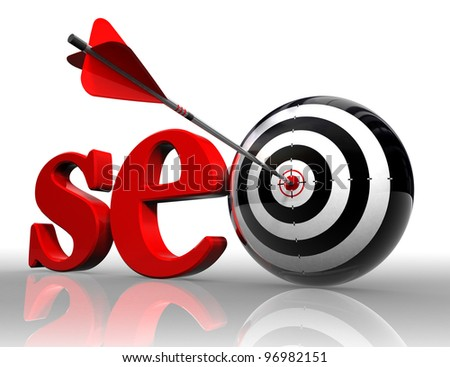 seo red word and conceptual target with arrow on white background clipping path included - stock photo