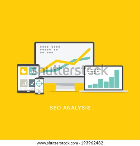 SEO search engine optimization analysis in flat computer icons - stock photo