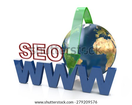 SEO search engine optimization - Elements of this image furnished by NASA - stock photo