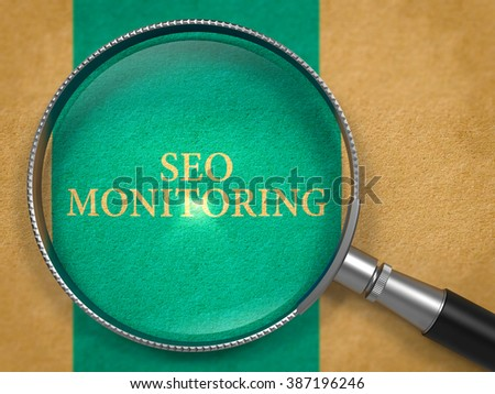 SEO - Search Engine Optimization - Monitoring through Loupe on Old Paper with Blue Vertical Line Background. 3D Render. - stock photo