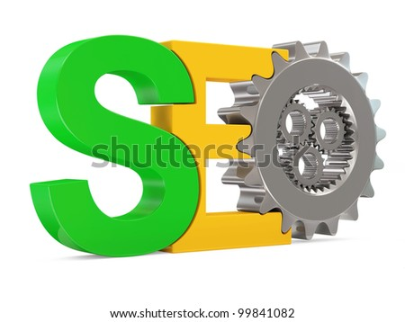 SEO - Search Engine Optimization Symbol with Metallic Gears on white background - stock photo