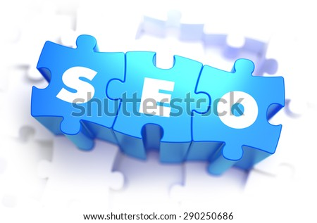 SEO - Search Engine Optimization - Text on Blue Puzzles on White Background. 3D Render.  - stock photo