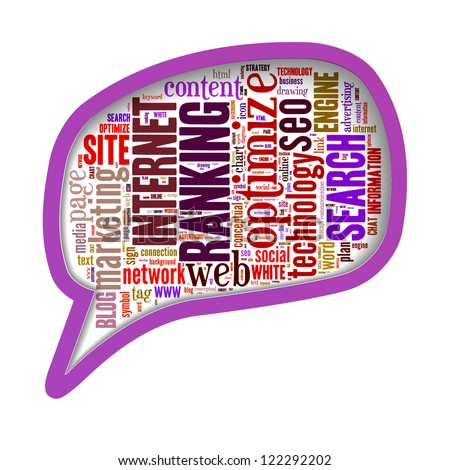 SEO search engine optimize word clouds in call-out shape isolated in white background