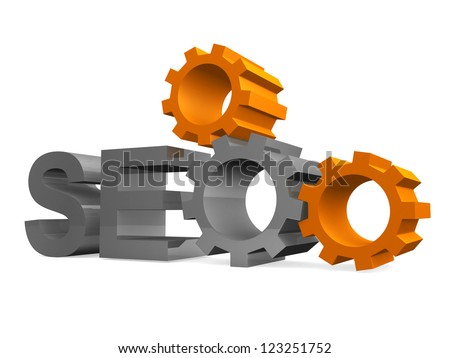 SEO - Search Engine symbol with gears - 3d render