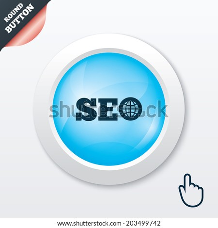 SEO sign icon. Search Engine Optimization symbol. Blue shiny button. Modern UI website button with hand cursor pointer.