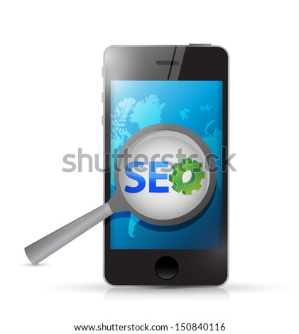 seo smartphone illustration design over a white background - stock photo