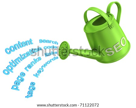 SEO watering can. Flowing words from watering can. - stock photo