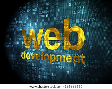 SEO web design concept: pixelated words Web Development on digital background, 3d render