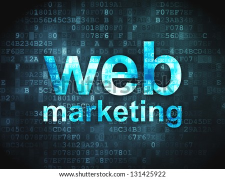 SEO web design concept: pixelated words Web Marketing on digital background, 3d render - stock photo