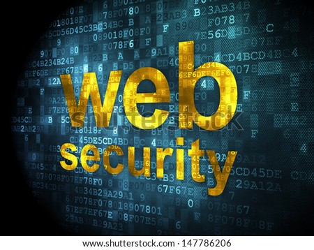 SEO web design concept: pixelated words Web Security on digital background, 3d render