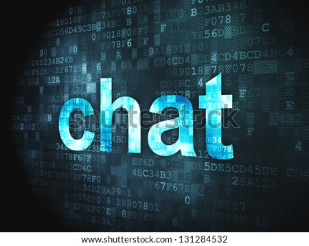 SEO web development concept: pixelated words Chat on digital background, 3d render