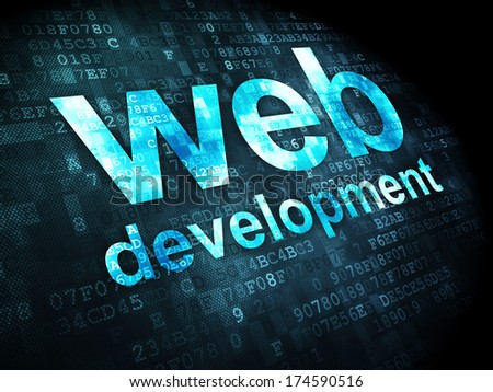 SEO web development concept: pixelated words Web Development on digital background, 3d render - stock photo