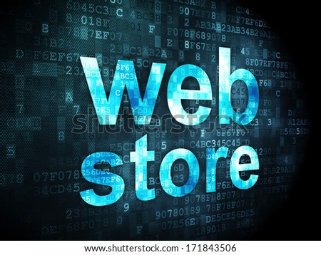 SEO web development concept: pixelated words Web Store on digital background, 3d render