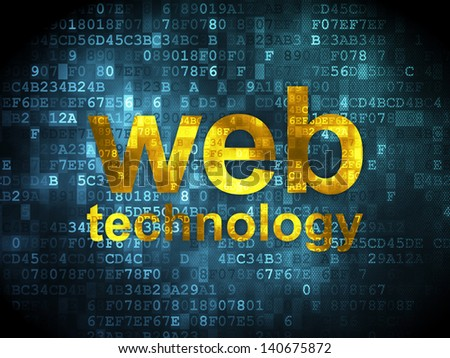 SEO web development concept: pixelated words Web Technology on digital background, 3d render