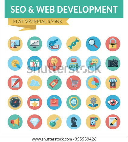 SEO & WEB DEVELOPMENT. Trendy Material Design Icons  pack for designers and developers. Icons for seo and web development, for websites and mobile websites and apps. - stock photo