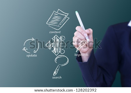 seo  with puzzles on  background. - stock photo