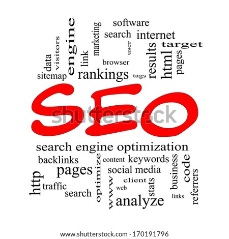 SEO Word Cloud Concept in red caps with great terms such as search, engine, optimization and more.