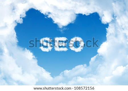 SEO. Word collage on the center of heart shape made of cloud. - stock photo