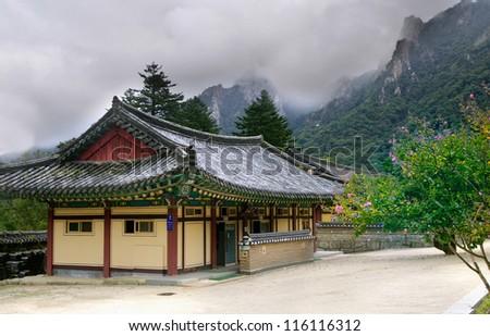 Seoraksan Buddhist temple in South Korea at summer - stock photo