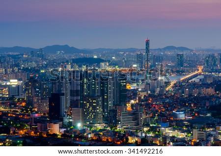 Seoul at night, South Korea city skyline - stock photo