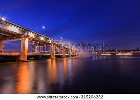 SEOUL, Banpo bridge and water-work at night in South Korea.