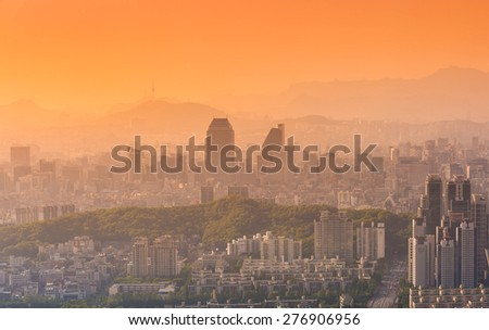 Seoul city and Downtown skyline in Sunset in Misty day, South Korea.