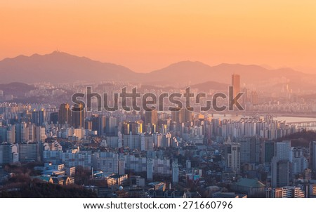 Seoul City and Han River at Yeouido in Seoul, South Korea.