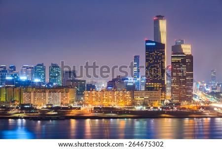 Seoul City and Han River at Yeouido, South Korea. - stock photo