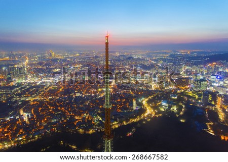 Seoul city at night in South Korea