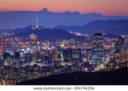 Seoul City at Night with Seoul Tower, South Korea - stock photo