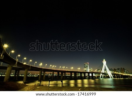 Seoul City of Korea - the front view of bridge over the Han River in Seoul - stock photo