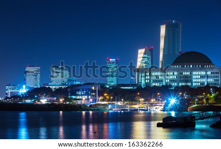 Seoul city skyline at night