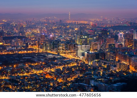 Seoul City Skyline, South Korea.