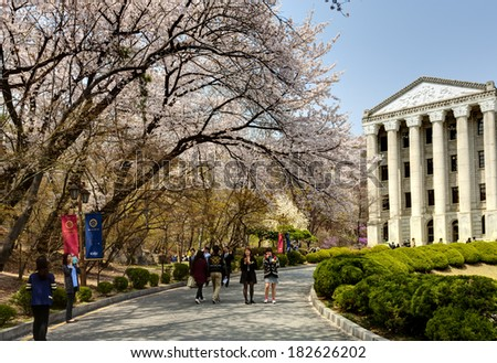 SEOUL, KOREA-APRIL 18: Students are walking at the campus which is lined with cherry trees of full blossoms in Kyung Hee University on April 18, 2013 in Seoul, Korea.  - stock photo